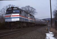 AMTRAK Railroad Locomotive 387 WARREN MA Original 1990 Photo Slide