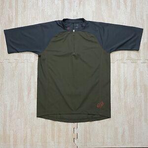Fox Racing Mens Green Gray 1/4 Zip Cycling Jersey Bike Half Sleeve Shirt Size M