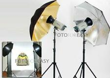 Photo Studio Photography Video Continuous Lamp Light Black Soft Umbrella Kit