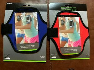 TWO Universal Sports Running Arm Band Phone Case Holster Adjustable RED & BLUE