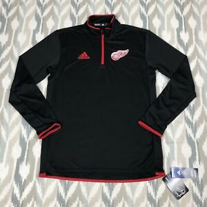 Adidas Detroit Red Wings NHL Therma Base Mens 1/4 Zip Knit Pullover Black Size S