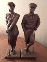 "VINTAGE MULTI BRONZE PATINA AUSTIN SCULPTURE MALE & FEMALE GOLFER ""PLUS FOURS"""