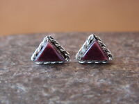 Native American Sterling Silver Triangular Purple Spiny Oyster Post Earrings by