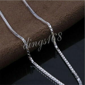 "Genuine 925 Sterling Silver Tarnish-Free 16""~ 32"" 2mm Classic Box Chain Necklace"