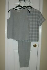 HOT COTTON 3pc LINEN Set ~ Pants ~ Shell ~ Button-down Top ~ SZ S