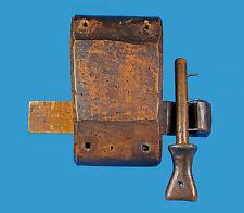 Holz-Fallstiftriegelschloß mit Schlüssel alpenländisch sehr alt u.überaus selten