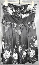 New Look Black & Cream Satin Fitted Bust Fully Lined Evening Dress size 12