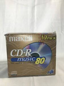 Maxell CD-R Music 80 Min Sealed Blank Recordable ~ 10 Pk w/ Cases Gold Edition