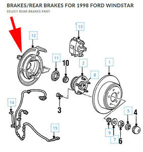 Ford Rear Right Brake Backing Plate Adapter Assembly 1995-98 Ford Windstar