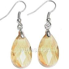 Faceted Teardrops Crystal Glass Beads Drop Dangle Earrings Earwires Ear Hooks