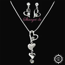 18K WHITE GOLD GP Silver Wedding Heart wth SWAROVSKI CRYSTAL Necklace SET FER106