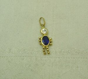 AWESOME 14K Solid Yellow Gold BLUE & WHITE CUBIC ZIRCONIA BOY CHARM N141-E