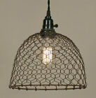 Chicken Wire Dome hang light in distressed rusty tin   Plug in
