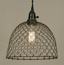 Primitive new rusty CHICKEN WIRED hang light / PLUG IN LIGHT/ nice