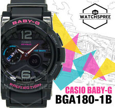 Casio Baby-g G-lide Bga180 Bga-180-1b Tide Graph Analog-digital Black