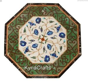"""24"""" Marble Coffee Table Top Marquetry Art Sofa Table with Blue Stone Inlaid Work"""