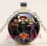 VINTAGE Witch Cabochon Tibetan silver Glass Chain Pendant Necklace #3263