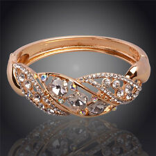 GORGEOUS BRAND NEW 18K GOLD PLATED & GENUINE CLEAR CUBIC ZIRCONIA BANGLE