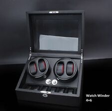 Automatic Watch Winder 4+6 Carbon Fiber Display Storage Show Case Dual Watches