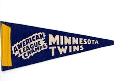 "1965 World Series Minnesota Twins AL Champions 12"" Pennant Blue yellow ribbon"