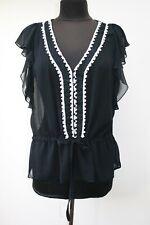 Gharani Strok Black Semi-Sheer Pretty Short Sleeved Blouse XL (UK 16)