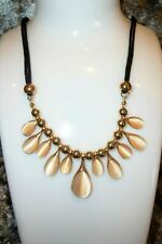 Nude Opalite Droplet Chain Leatherette Necklace Jewel Crystal Bling Lady B3G