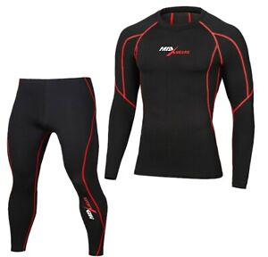 Mens Womens Compression Armour Base layer Top Skin Fit Shirt Pants Tights Suit
