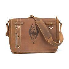 New! Skyrim Imperial Dragon Logo Brown Leather Premium Messenger Bag by Bethesda