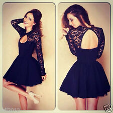 Sexy Women Floral Long Vintage Sleeve Lace Backless Evening Party Mini Dress Hot