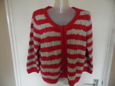 Ladies Red and Ceam striped long sleeve zip front chunky cardigan size M