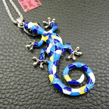 Betsey Johnson Blue Enamel Lizard Reptile Charm Pendant Long Chain Necklace