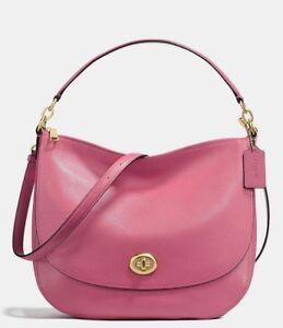 NWT $350 Coach Turnlock Hobo Pebble Leather Shoulder Bag Crossbody Rouge 36762