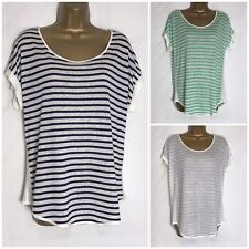 M&S Navy, Grey or Green Ivory Striped Linen Mix Top  14 - 24 (ms-277w)
