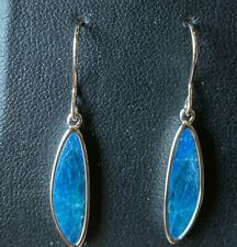 NEW Sterling Silver Opal Earrings Doublet Blue Dangle Hanging Shepards Hook 925