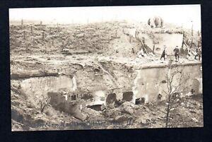 WW1 GERMANS INSPECT RUINS OF FORT WAELHEM NEAR ANTWERP --- RPPC