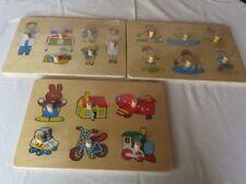 3 Holzpuzzle Steckpuzzle Setzpuzzle Holz Puzzle - NEU am Strand, im Krankenhaus