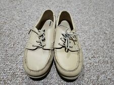 St Johns Bay Men's Ivory Leather Casual Boat Deck Shoes  Men's Size 8.5 M