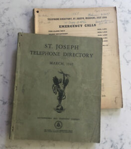 2 VINTAGE ST. JOSEPH MISSOURI TELEPHONE DIRECTORY PHONE BOOKS 1945 AND 1950