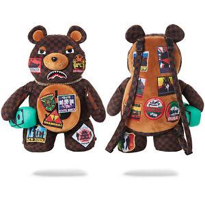 Sprayground International Travel Patches Bear Designer Rucksack Backpack Bag