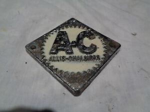Vintage Allis Chalmers Tractor Grille Emblem