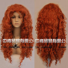 Movie Film Brave Merida Long Curly Red Orange Heat Resistant Cosplay Wigs E108