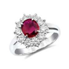 Natural Ruby 0.93 carats set in Platinum Ring with 0.77 carats Diamonds