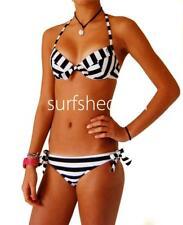 Size 8 Womens Rip Curl SPIRIT STRIPE BIKINI Women's Ladies Swimwear New - Black