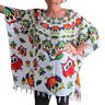 Ladies White with OWLS Kaftan Poncho Tunic top beach fits large plus size new