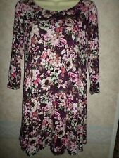 MARKS AND SPENCER PURPLE & PINK FLORAL VISCOSE LONG TUNIC WITH STRETCH SIZE 12