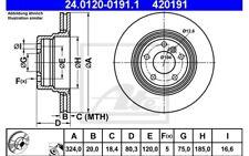 ATE Juego de 2 discos freno 324mm ventilado para BMW X5 24.0120-0191.1