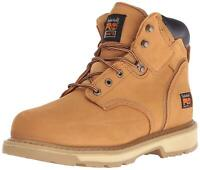 """Timberland Mens Pit Boss 6"""" Leather Steel toe Lace Up Safety, Wheat, Size 10.5 W"""