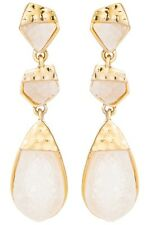Gold and White Simulated Druzy Geometric Tiered Drop Dangle Earrings Bauble