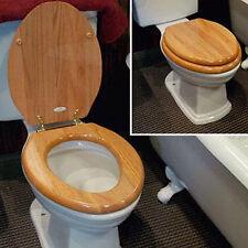 Bathroom Oak Toilet Seat Round Chrome Hinges Wood Wooden Finish Mainstays Bath