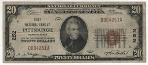 1929 $20 FIRST NATIONAL BANKNOTE PITTSBURGH PENNSYLVANIA CIRCULATED FINE F (251A